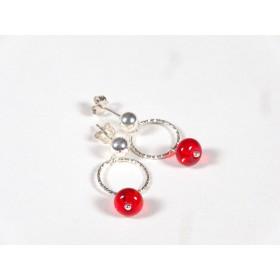 Boucles d'oreilles Créolinettes, rouge transparent