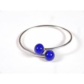 Bracelet Toi et Moi bleu roi et incolore