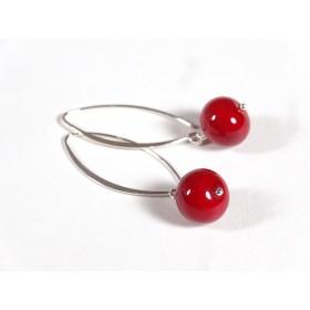 Boucles d'oreilles Fili, rouge vif