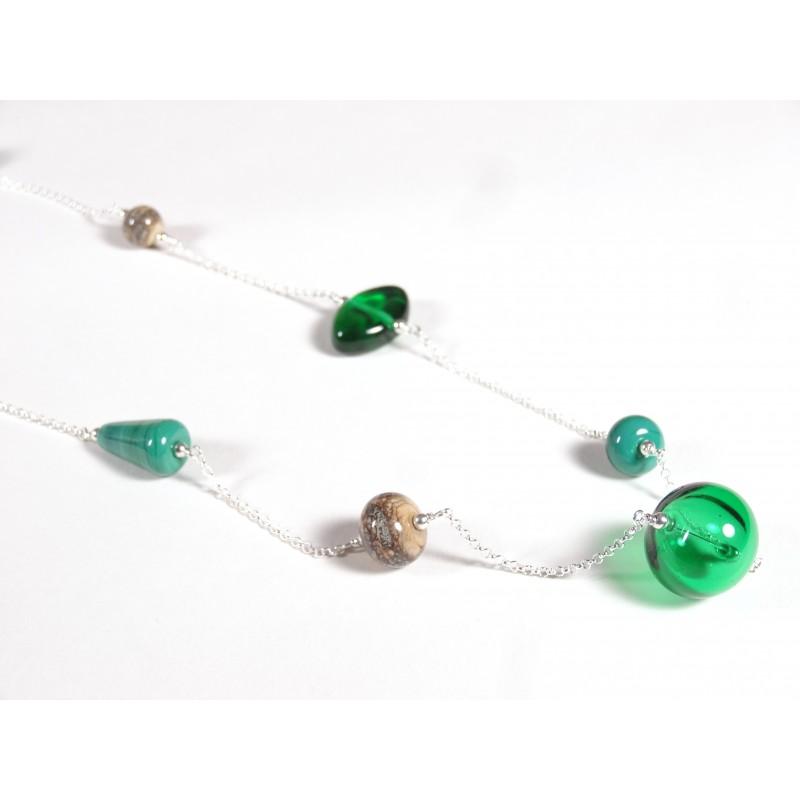 Sautoir Asymétrique, vert émeraude et effet pierre