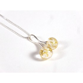 Collier Cherry feuille d'or 24 carats