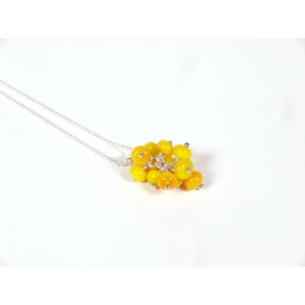 Collier Grapilles jaune moutarde