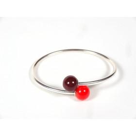 Bracelet Toi et Moi, rouge cerise et orange
