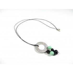 Sautoir Grappilles, noir et vert jade